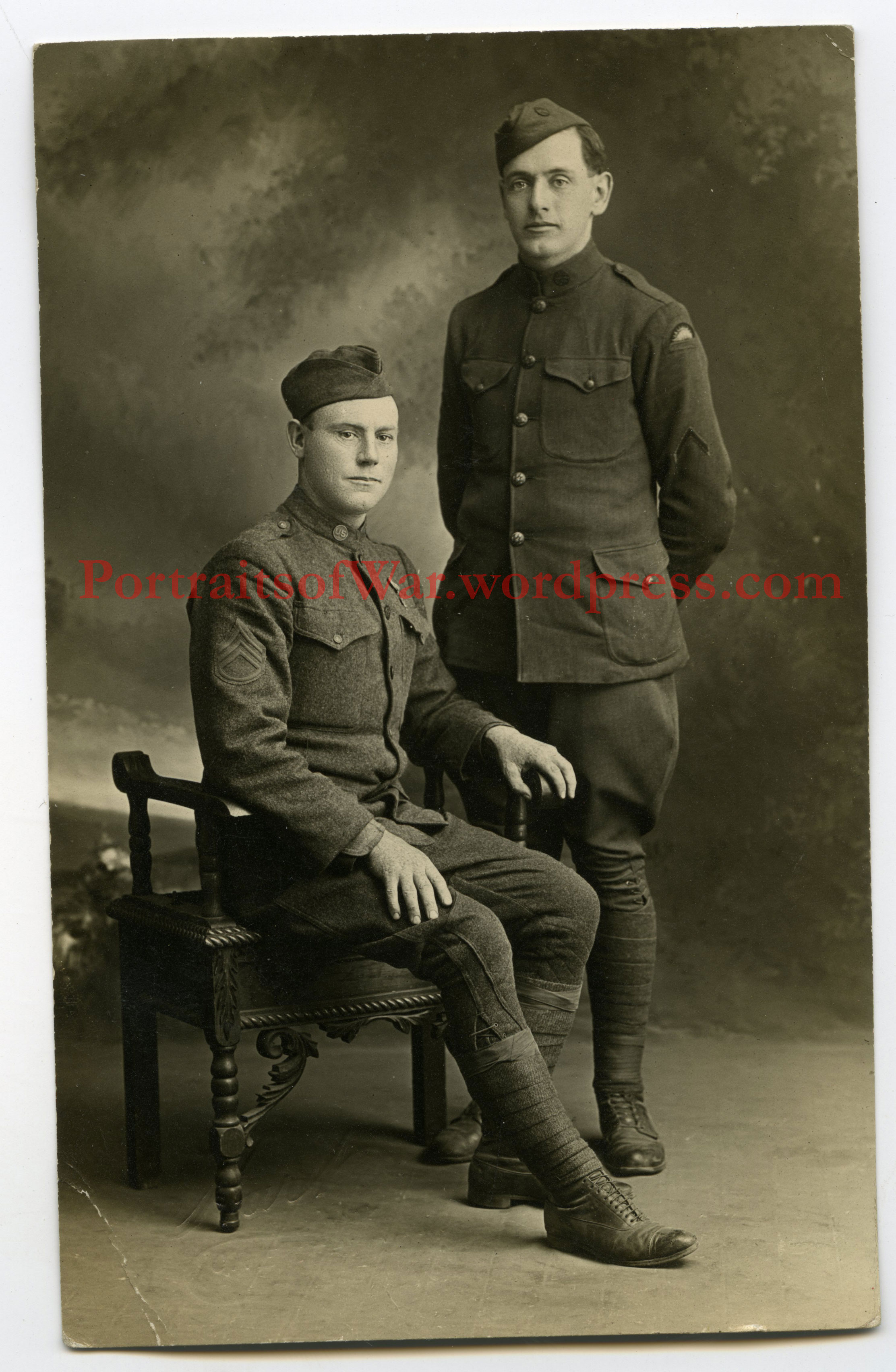 41st Division Doughboys – WWI Studio RPPC Patch Photo