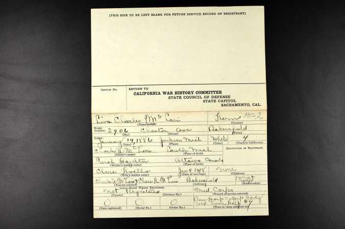 Lt. McLain's WWI California Veteran Registry Card