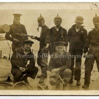 WWI Navy Sailors Capture German Gear - Pickelhaube Helmets, Guns, Bayonets and Trench Knives