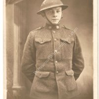 WWI Portrait Photo Postcard - Helmeted Doughboy Poses for Camera