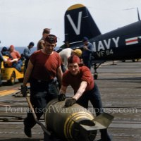 "Korean War Corsair Fighter Pilot of the Navy VF-114 ""Executioners"" on Deck - Color Kodachrome 1950 USS Philippine Sea"