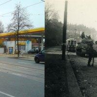 WWII Photo 1945 - 2011 - 347th Infantry Regiment Sherman Tanks in Plauen, Germany