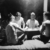 WWII Negative Collection - 82nd Airborne Soldiers Play Late Night Poker