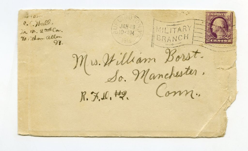WWI 2nd Cavalry Postal Cover Letter - Fort Ethan Allen Vermont Letter January 1918 - Good Details!