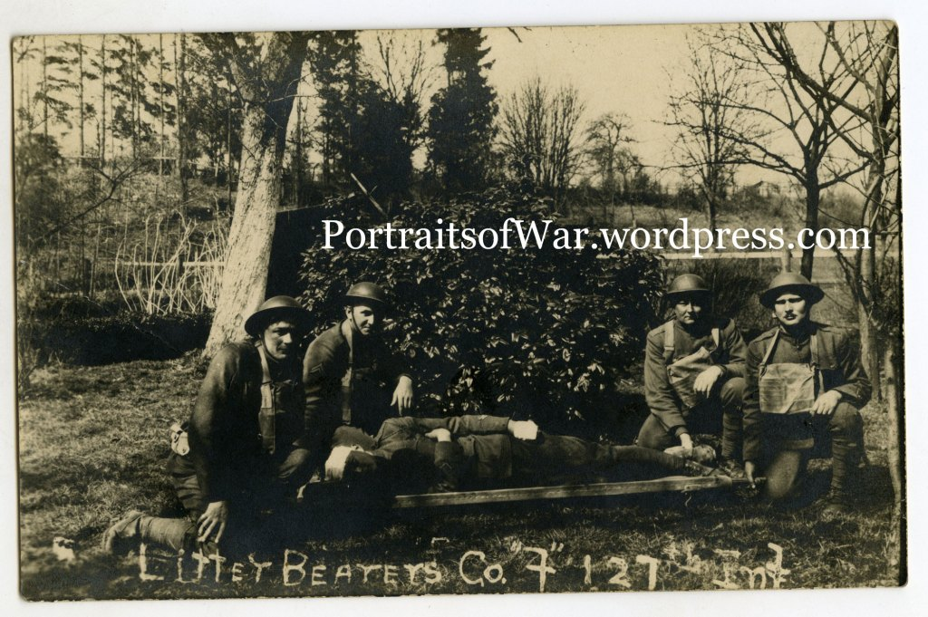 WWI RPPC Photo - 32nd Division, 127th Infantry Wounded Litter Bearers - Identified DSC Recipients!