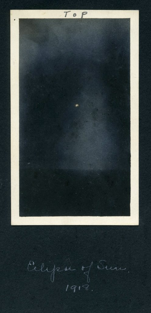 World War One Solar Eclipse Captured in France 1918 - American Red Cross Nurse Photo Album Image