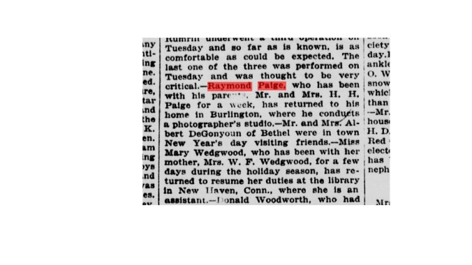 January 1918 Article About the Return of Raymond Paige