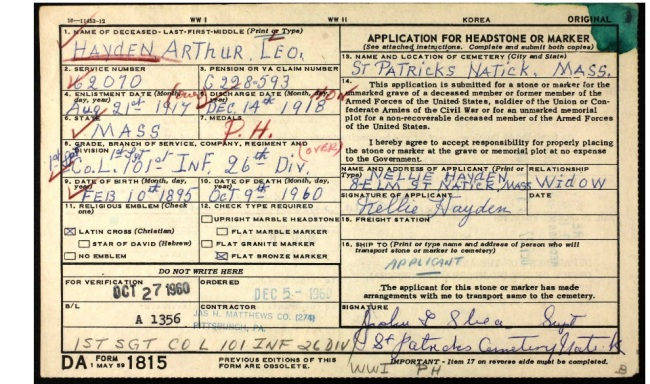 Veteran Grave Card