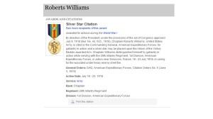 Williams' Silver Star Citation