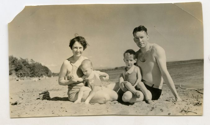 Lt. Slocum and family at the beach.  Possibly North Beach