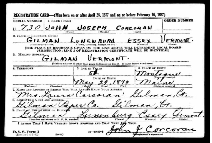 WWII Draft Card