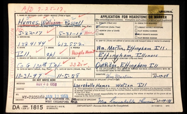 Russell Humes' Burial Card