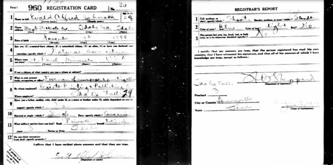 WWI Draft Card  Evald A. Johnson