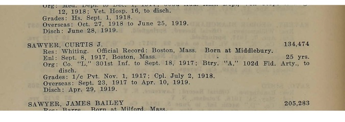 WWI Vermont Roster Entry