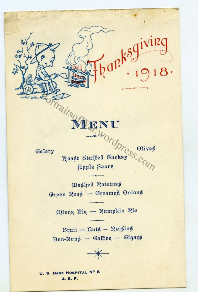Base Hospital #6 Thanksgiving Menu
