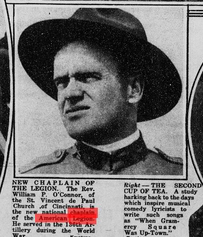 Newspaper Clipping of Father O'Connor, 1922
