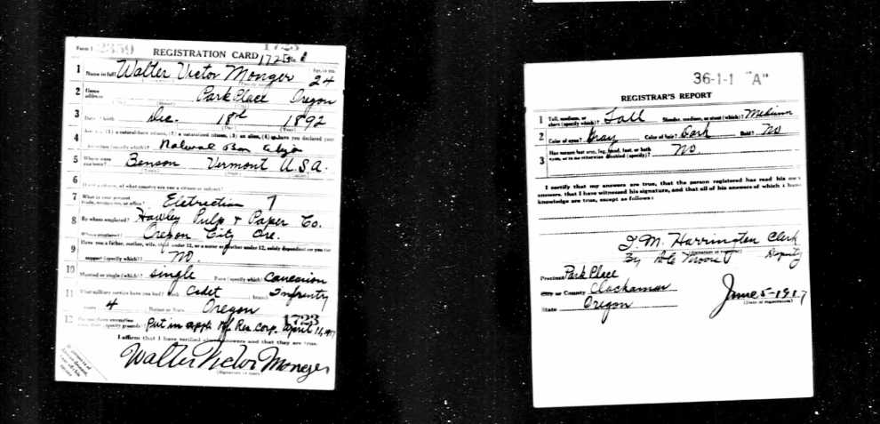 WWI Draft Registration Card