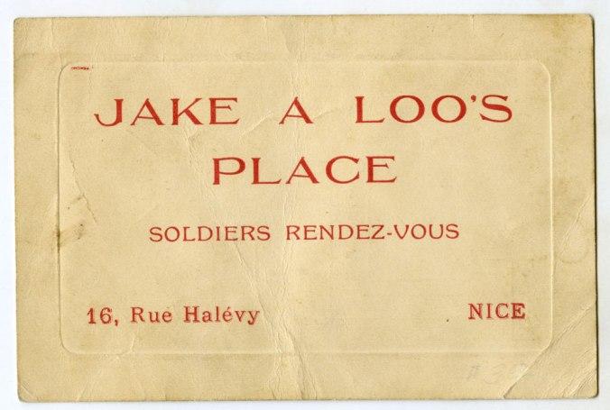 Jack a Loo's Place WWI Handbill