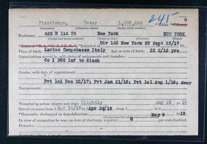 WWI Service Record