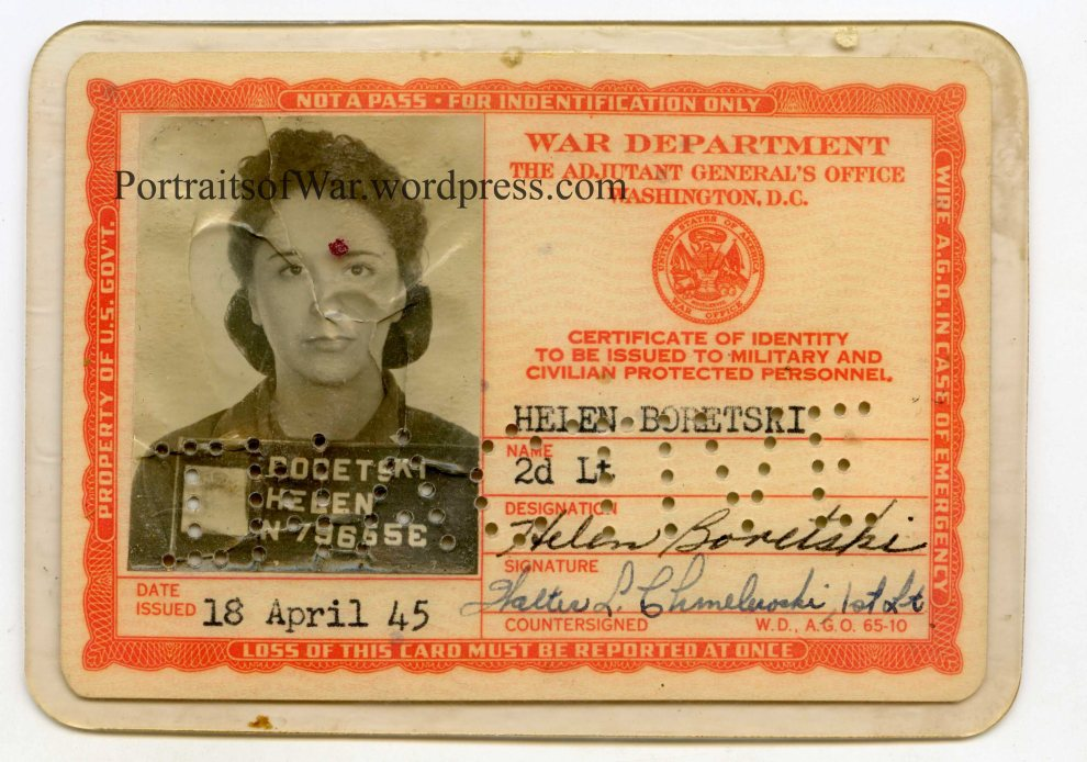 Helen (Boretski) Bronesky's WWII ID Card