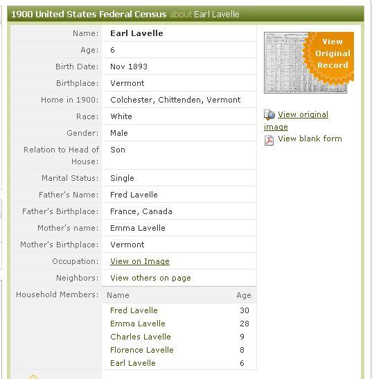 1900 Census, Colchester, Vt