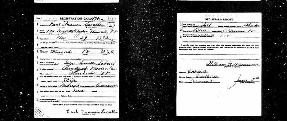 Earl Lavallee Draft Card WWI