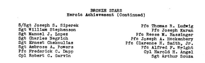 Unit History Bronze Star Info