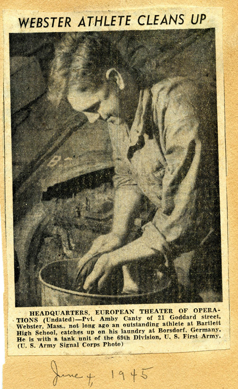 Ambrose Washing in His Helmet, Germany 1945