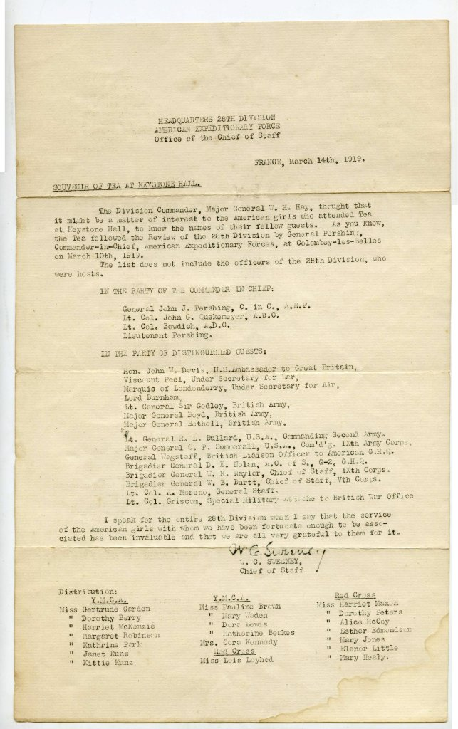 Tea Service Notice for the 28th Division