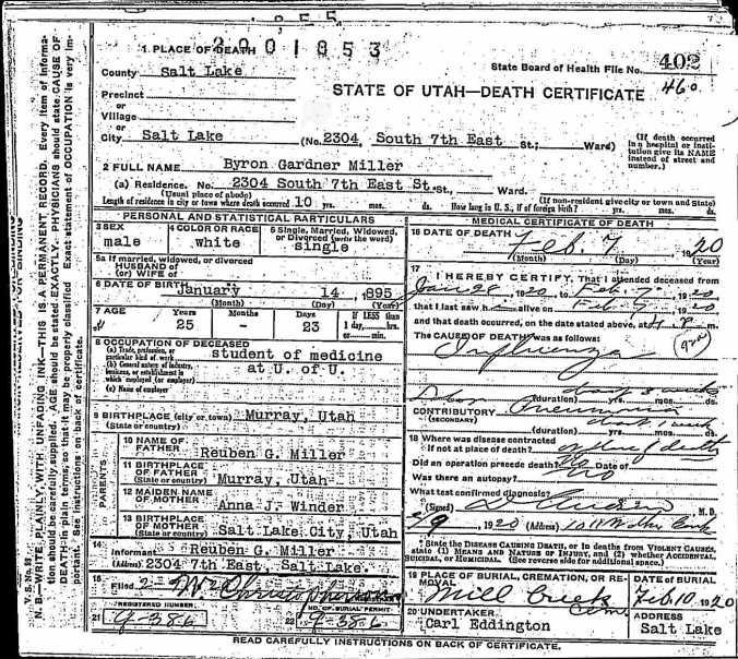 1920 Death Certificate