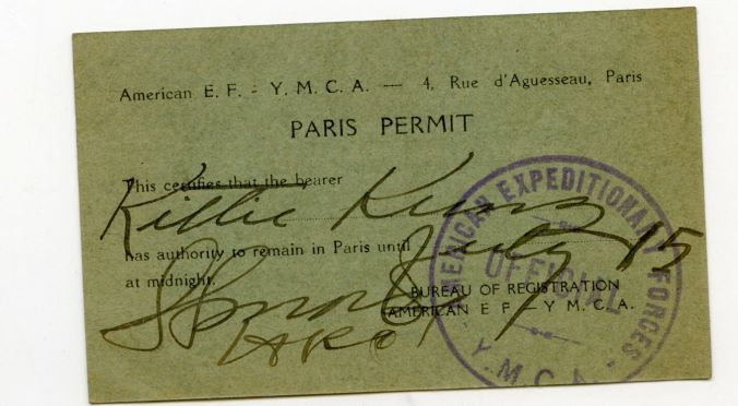 Kittie's YMCA Paris Travel Permit