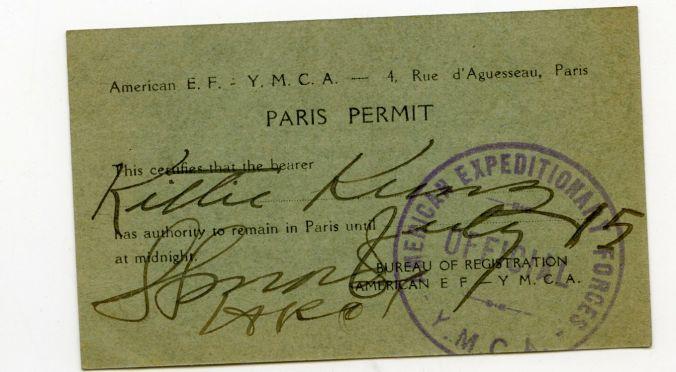 Kittie's YMCA Paris Travel Permit