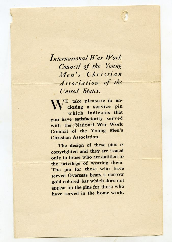YMCA War Service Pin Card