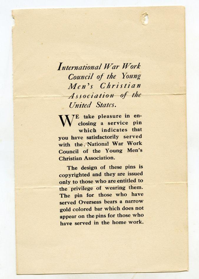 YMCA War Service Pin Card
