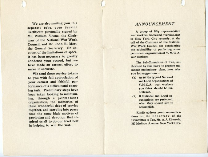 YMCA War Service Pin Card Interior