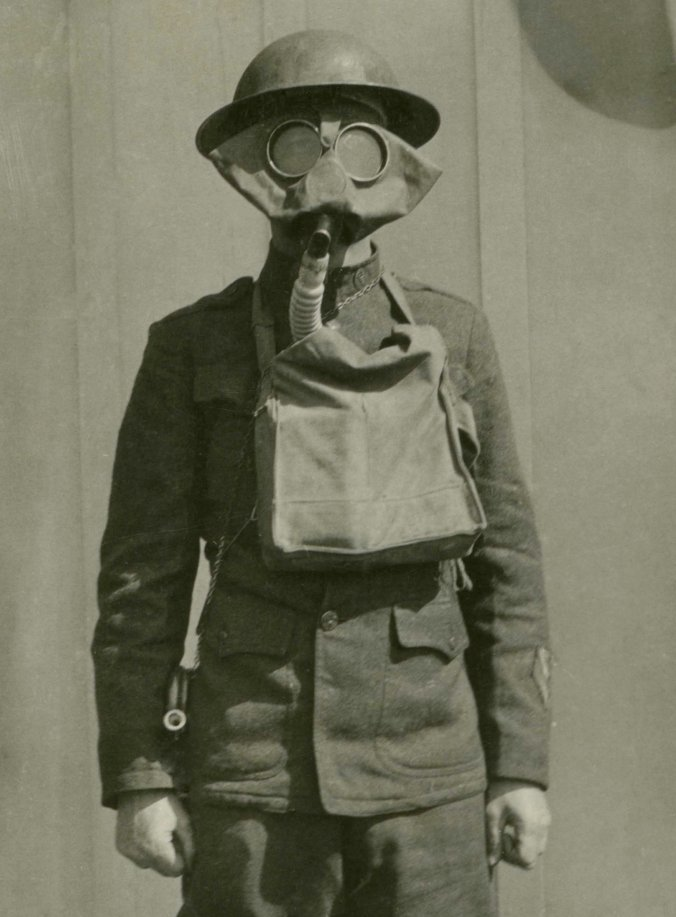 Lincoln L. Loper in a Gas Mask, 1919