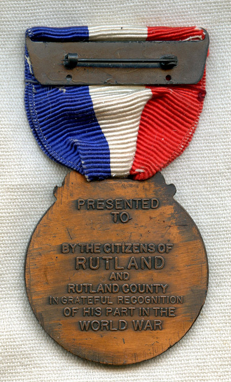 WWI medal for wartime service from Rutland County, Vermont