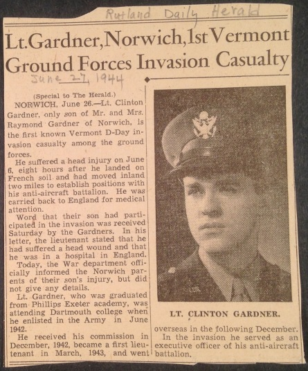 ClintGardner-newspaper-clipping-Rutland-Herald-VT-June-27-1944